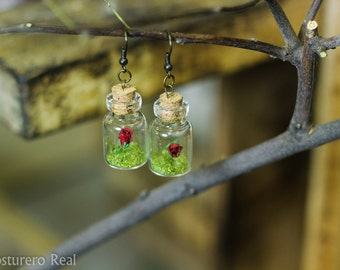 Tiny Bottle Vial Red Rose Earrings