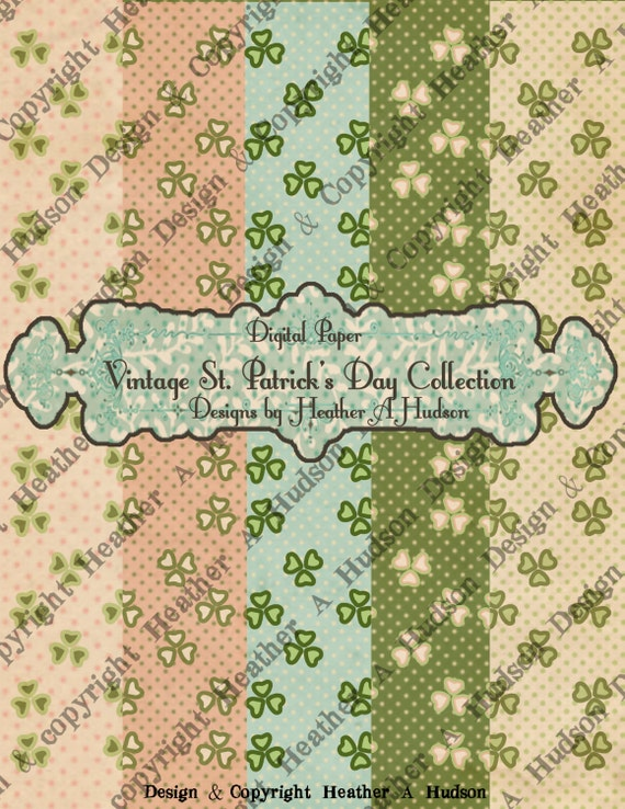 5 Victorian Vintage Whimsical Shamrock Shabby Cream Spring Green St Patrick's Day Digital Paper Pack Collection Collage Printable