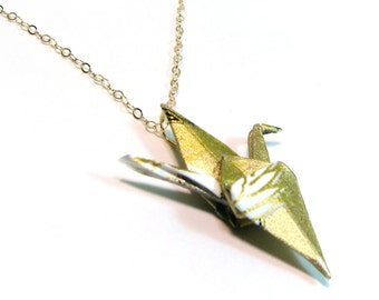 Origami Crane Necklace - Golden Feather - Gold Filled chain