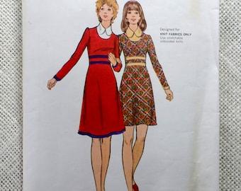 Butterick 6766 Vintage sewing pattern peter pan collar knit empire waist Mini dress Bust 36 1970s
