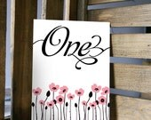 Table Number Card - Cherry Blossom Branches - 5x7 or 4x6 Card