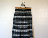 Vintage Plaid Skirt / Christian Dior/ FREE USA SHIPPING /80's Wool Midi Skirt / Extra Small