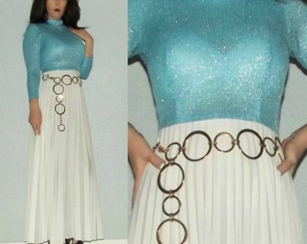 902 Mod XS S Vtg 60s 70s TeJo of California Blue Silver Metallic Lame Long Sleeve Pleated Hostess Maxi Dress