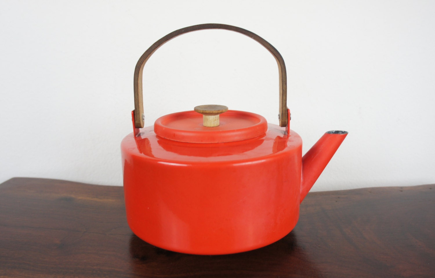 Red Tea Kettle ~ Vintage copco enamelware red tea kettle enameled steel and