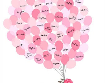 Wedding Guestbook Alternative, Bicycle and Balloons, Fingerprint Signature Guest book, Custom color, size, text - DIGITAL PRINTABLE JPEG