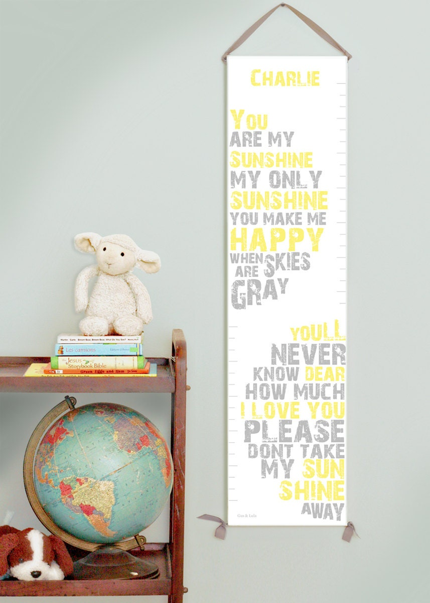 Custom/ Personalized You Are My Sunshine canvas growth chart