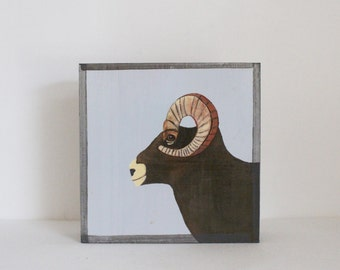 big horn sheep art for a nursery- art block- kids room decor in blue- redtilestudio- wall art
