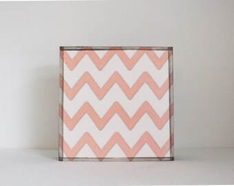 art for a kids room- chevron- 5x5 art block- pink nursery decor - pink art for a nursery- redtilestudio