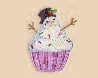 Snowman Cupcake Tea Towel | Embroidered Kitchen Towel | Personalized Kitchen Towel | Embroidered Tea Towel | Embroidered Towel|Kitchen Towel