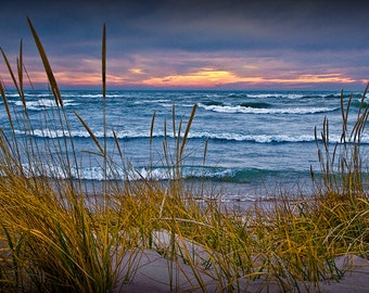 Sunset at the Beach with Dune Grass in Fall on the Lake Michigan Shoreline by Holland Michigan No.0199 Nature Seascape Photography