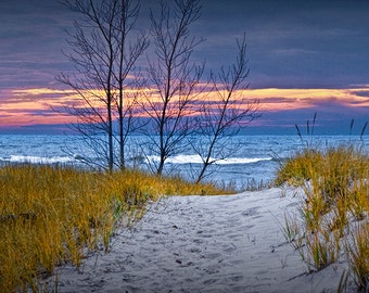 Beach Path with an Autumn Sunset by the Lake Michigan Shore at Holland Michigan No.0241 - A Beach Seascape Photograph