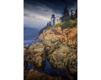 Bass Harbor Head Lighthouse in Acadia National Park on Mount Desert Island in Maine No.00283 - A Lighthouse Seascape Photograph