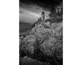Acadia National Park Bass Harbor Head Lighthouse on Mount Desert Island in Maine No.BW00283 A Black & White Lighthouse Seascape Photograph