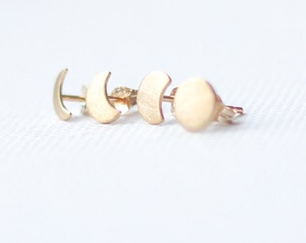 Gold Moon Phase Stud Earrings, mismatched earrings set, 9ct solid yellow gold