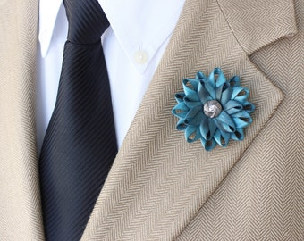 Mens Fashion, Mens Lapel Flower, Teal Lapel Flower for Men, Gift for Him, Teal Boutonniere, Mens Flower, Unique Lapel Flower, Mens Lapel Pin