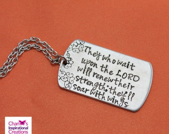Isaiah 40:31 Hand stamped bible verse dog tag necklace