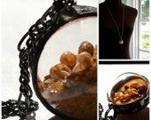 Hand Blown Glass Ball filled with Moving Sand & Seashells Extra Long Necklace (2120-a)