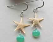 SALE Real Starfish Earrings, Starfish Dangle Earrings, Chrysoprase Earrings, Mint Green Gemstone, Beachy, Hawaiian Earrings: 35% Off