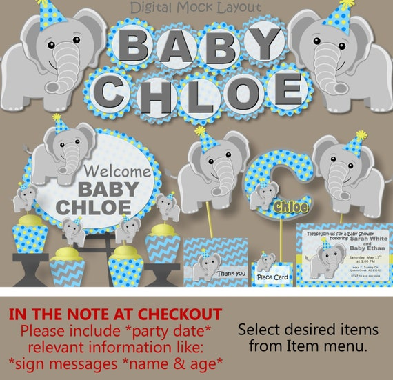 Boy blue elephant baby shower decorations or first 1st for 1st birthday party decoration for boys