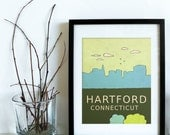 Hartford Connecticut // Trendy Modern Nursery Decor, Kids Art Poster, City Skyline, Typography Print, Giclee, Travel Theme, Map, Digital
