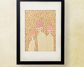 Sprinkles // Quirky Animal Girl Illustration, Kids Art, Nursery Art, Girls Room Decor, Pink, Natural, Candy, Cute