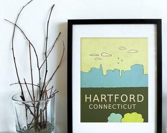 Hartford Connecticut // Trendy Modern Nursery Decor, Kids Art Poster, City Skyline, Typography Print, Giclee, Travel Theme, Map, Digital