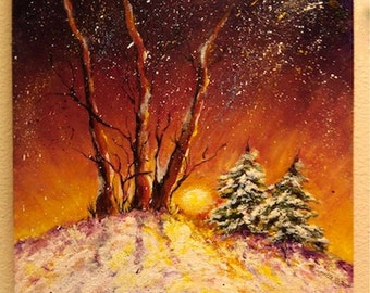 "Winter Landscape Art Print, Aspen, Pine, ""Winter Sun""    8"" x 10""  reds, gold, green, purple"