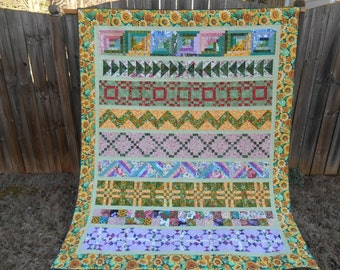 Flower garden theme row-by-row quilt for little girl or sunroom