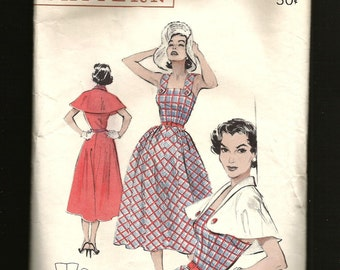Vintage 1950s Butterick 6527 Classic 50s SUNDRESS Summer Dress and Button on CAPE  Shawl Collar Chemise Bodice Rockabilly bust 30