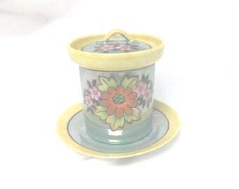 3 Piece Lustreware Hand Painted Floral Condiment Set //