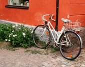 Bicycle Photography - Finland Photograph - Porvoo Photo - Coral Decor - Small Town Art - Travel Print Colorful White Bike Print Finish