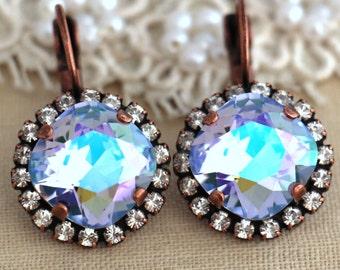 Lilac Purple Swarovski earrings, Copper Crystal lavender earrings, Wedding jewelry, Gift for her, Swarovski earrings, Halo earrings, Jewelry