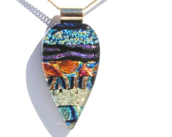 Dichroic Fused Glass Pendant, Dichroic Glass Pendant, Fused Glass Jewelry - Abstract, Fall Summer, Rich Colors, Textures (Item #10699-P)