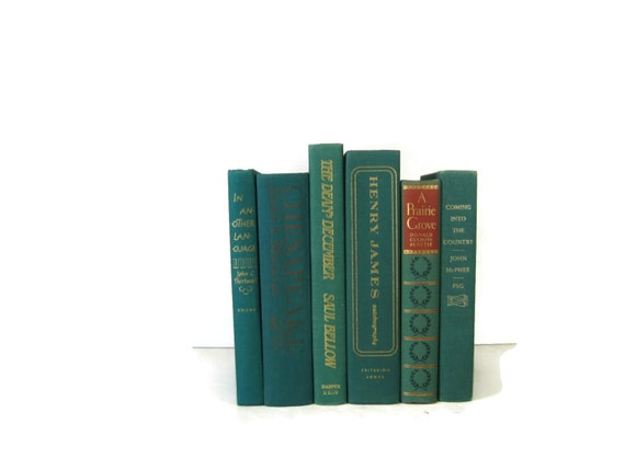 Green Turquoise Vintage Decorative Books for Wedding Decor and Photo Prop