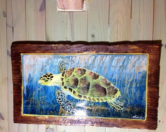 Sea Turtle with Yellow Boarder original painting shabby chic rustic beach cottage 3ft reycled wood wall art coastal living seaside resort