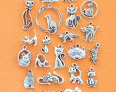 Deluxe Cat Charm Collection Antique Silver Tone 22 Different Charms - COL33