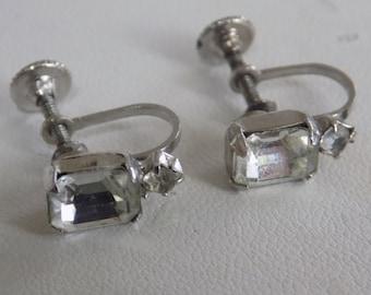 "Vintage earrings, signed ""E"" in script Eisenberg screw back crystal earrings, collectible earrings, Eisenberg jewelry"
