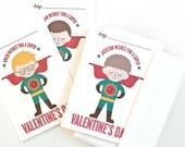 Personalized Kid's Valentine Cards, Children's Custom Portrait Valentines // SUPER BOY