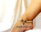 Swim with Angel Fish Anklet Aqua Crystal White Beach Resort Anklet Gold Ankle Bracelet