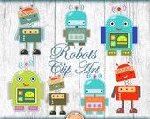 Robots clipart. Digital download clip art. Printable robots set. Cute robot
