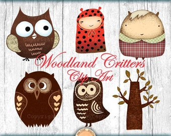Woodland Creatures clip art. Hand drawn clipart images for digital scrapbooking, invitations, cards. Owls critters tree
