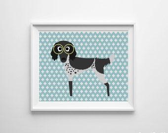 Modern Nursery Dog Kids Room Art Print Blue Green