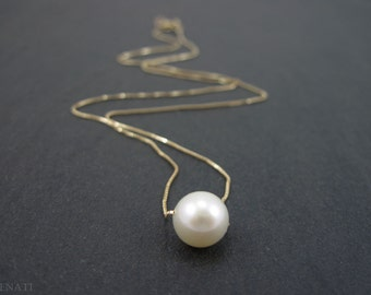 Single pearl gold necklace, Pearl gold necklace, Floating pearl on gold necklace, Freshwater pearl on solid gold chain, Round Pearl necklace