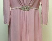 Vintage 1970s Lilli Diamond Pink Evening Dress Rhinestone Details Size Large