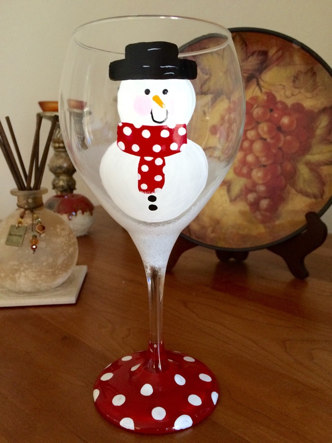 Frosty Snowman wine glass