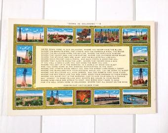 Down In Oklahoma Linen Postcard Elmer Fisk Poem