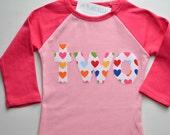 Ready to Ship Girls Second Birthday Shirt, Girls 2nd Birthday Tshirt, Applique Heart Shirt, In Stock, Pink Raglan Tee Size 2 2T