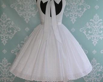 Wedding Dress Tea Length SWEET SUMMERTIME, Backless Eyelet Cotton, Low Back, Short