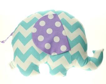 Aqua Chevron & Lavender Dot Elephant Softie