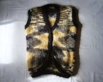 Mohair gilet, waistcoat, hand knitted in soft medium weight mohair wool, V neck, sleeveless, button fastening in Earthtones - free shipping